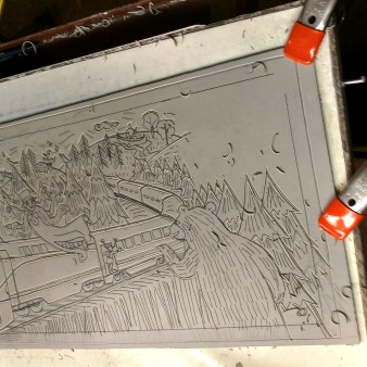 Lino carving in progress. Always think in reverse.
